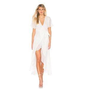 Privacy pleas white wrap maxi dress